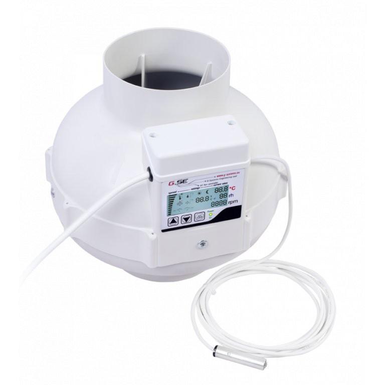 Ventilátor GSE EC s displejem 125mm, 950m3/h, ventilátor s EC motorem a regulací teploty