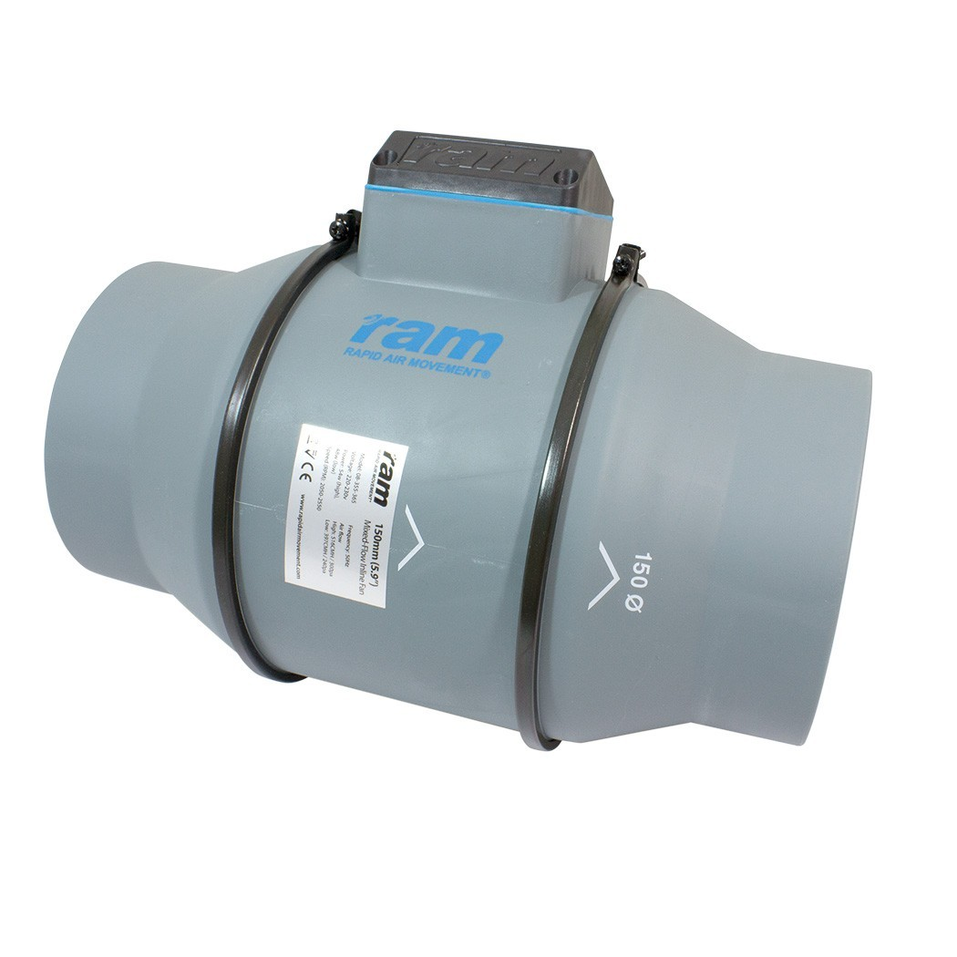 RAM MIXED-FLOW INLINE FAN Ø150mm 397/516 m³/h, 2-rychlostní axiální ventilátor
