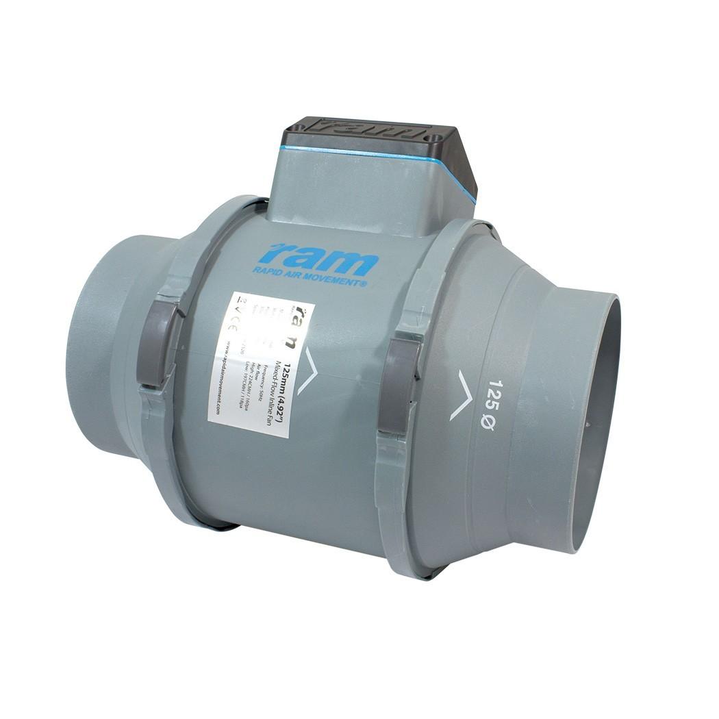RAM MIXED-FLOW INLINE FAN Ø125mm 248/284 m³/h, 2-rychlostní axiální ventilátor