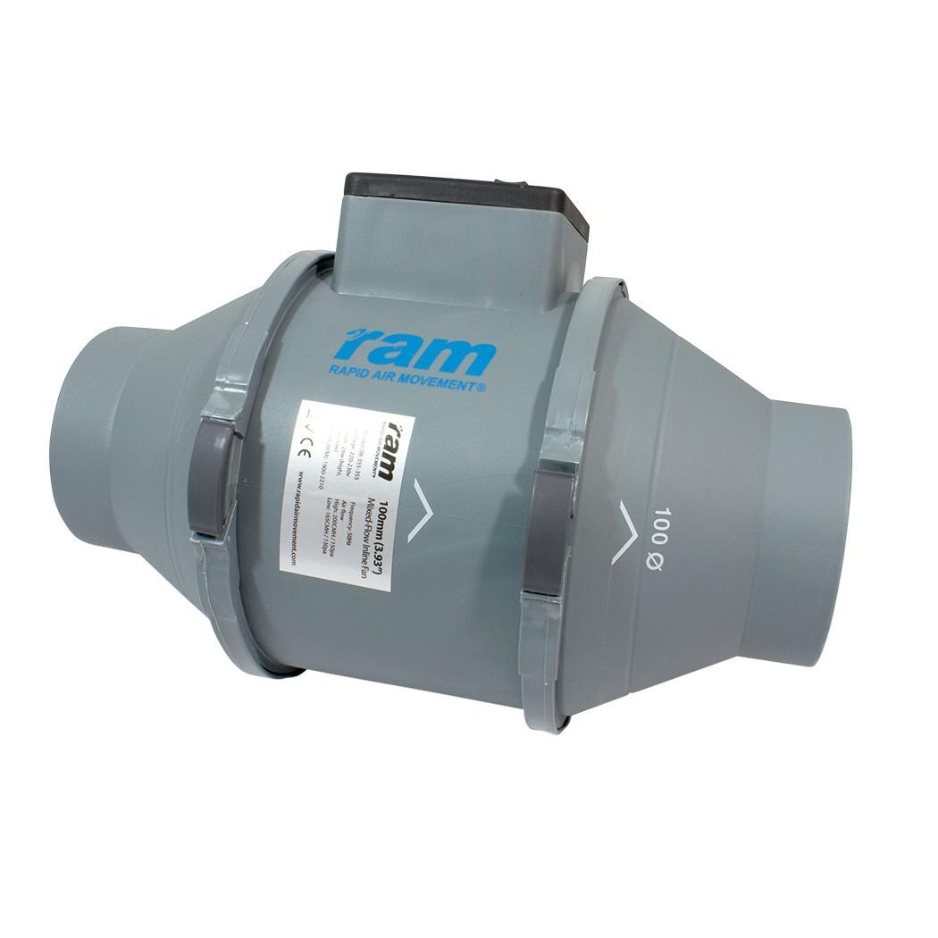 RAM MIXED-FLOW INLINE FAN Ø100mm 165/200 m³/h, 2-rychlostní axiální ventilátor
