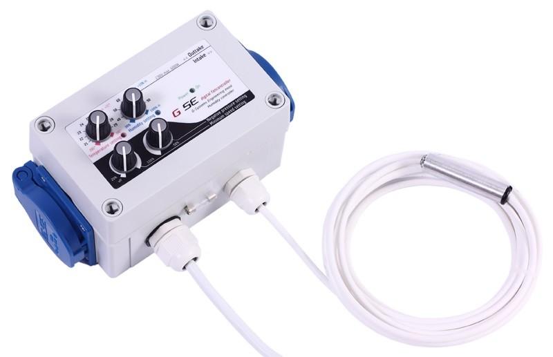 GSE Digitální regulátor teploty, vlhkosti, podtlaku a min. rychlosti ventilátorů 2x1A