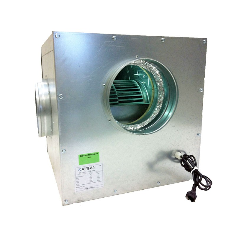 Airfan SOFT-Box Metal 1500 m³/h - maximálně odhlučněný ventilátor včetně přírub a háků k upevnění